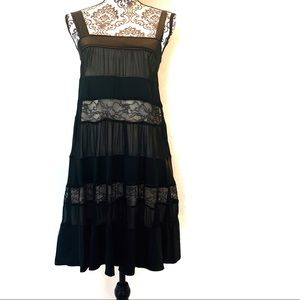 Diane VonFurstenberg Black Silk & Lace Dress - 6